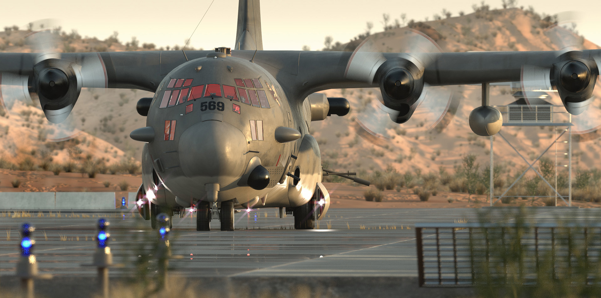 AC-130 CGI on ground