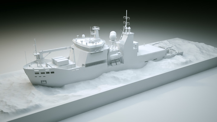 Arctic Animation of the icebreaker Araaon, claymodel