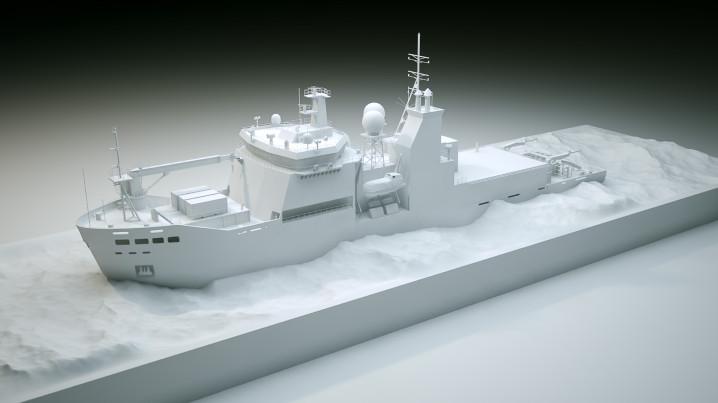 Arctic CG Animation of the icebreaker Araaon, clay