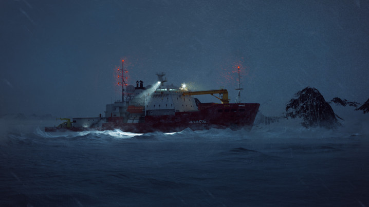 Arctic Animation of the icebreaker Araaon, night shot, stuck in the ice