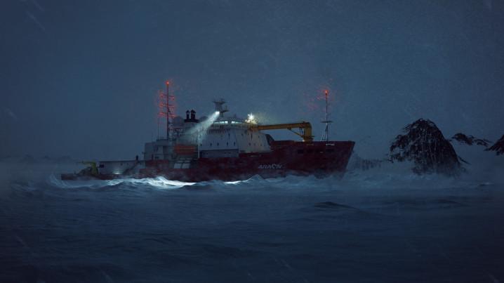 Arctic CG Animation of the icebreaker Araaon, nightshot