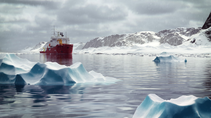 Arctic Animation of the icebreaker Araaon, cloudy