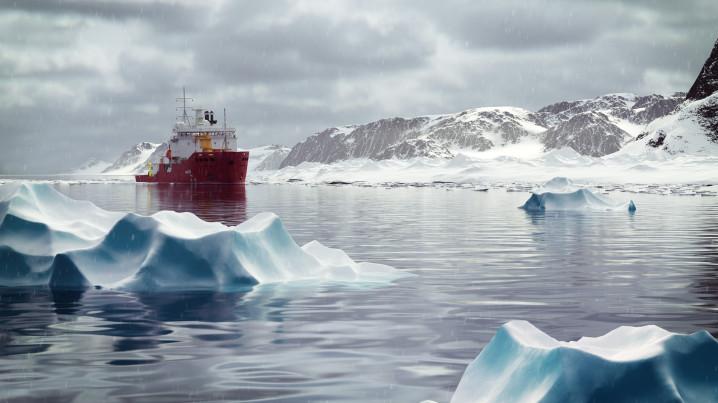 Arctic CG Animation of the icebreaker Araaon, cloudy