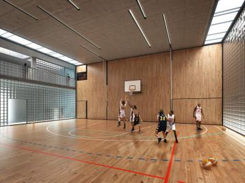 Visualisierung Schule St Gallen Turnhalle
