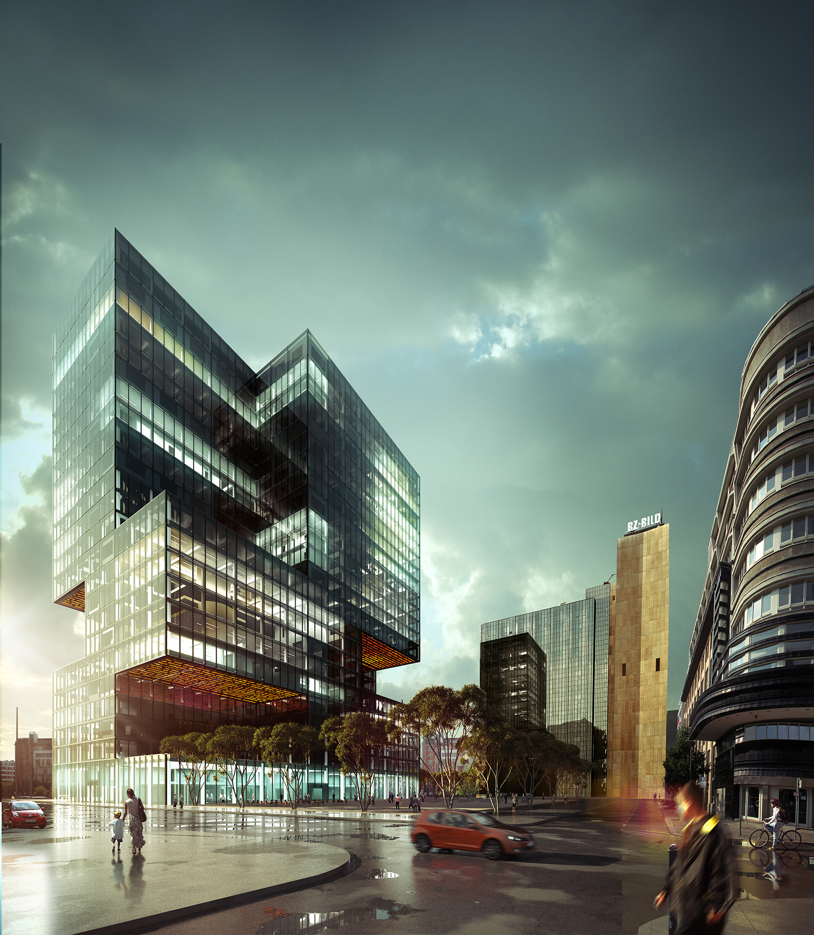 Berlin highriser axel springer media group xoio for Architektur renderings