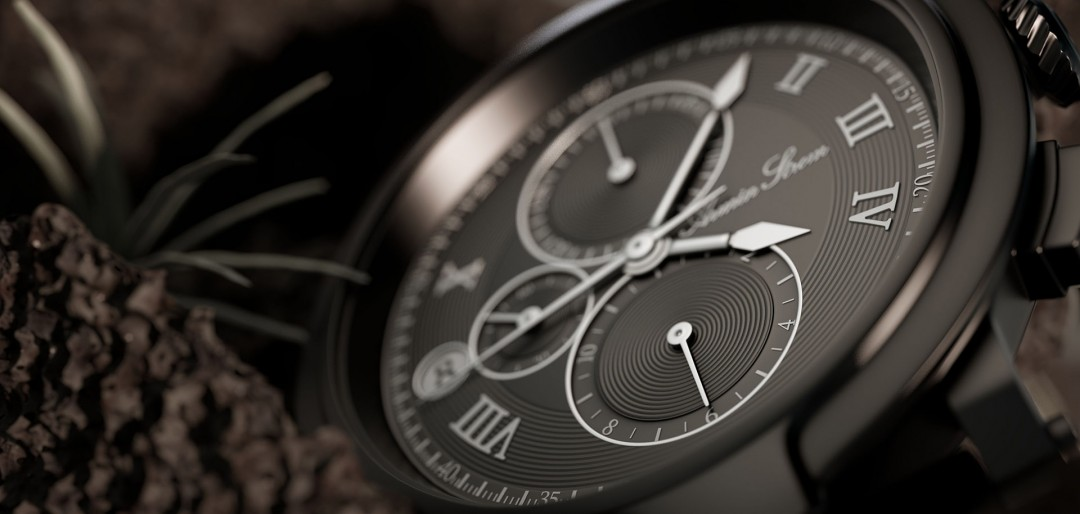 Chronograph 3d illustration - Closeup