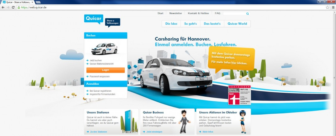 Volkswagen VW Quicar - Website