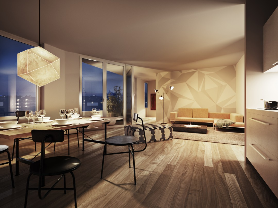 Libeskind Interior Apartment at dusk