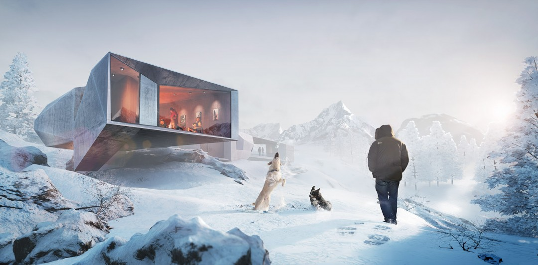unreal engine real time illustration - winter chalet rendered with Unreal Engine by xoio
