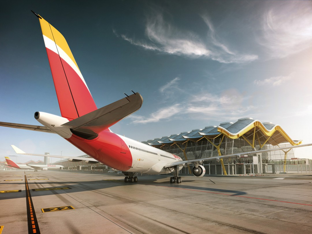 plane illustration Iberia Airlines at Barajas, Madrid