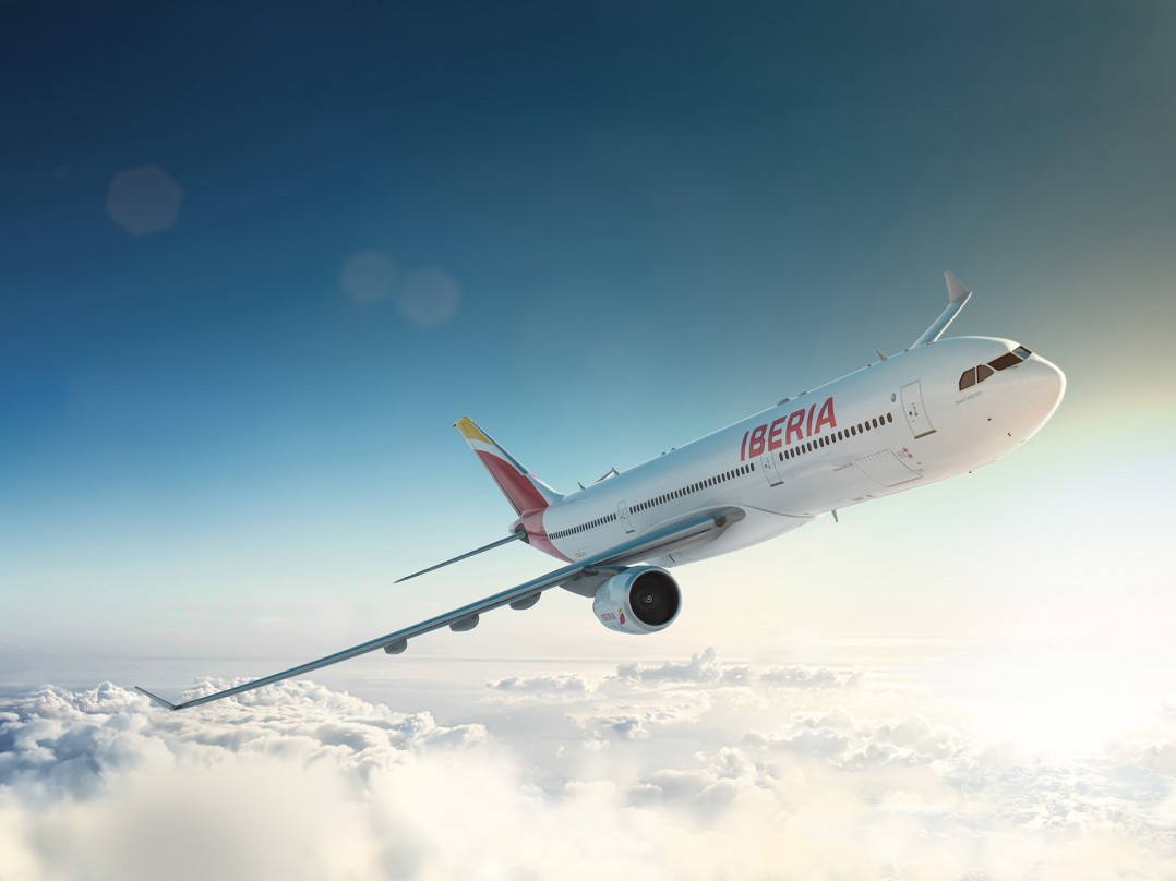 Iberia plane illustration above the clouds