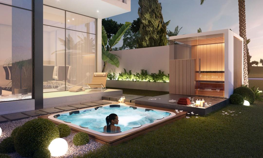 Luxus Wellness Villa Bereich von Aykona Oxygen