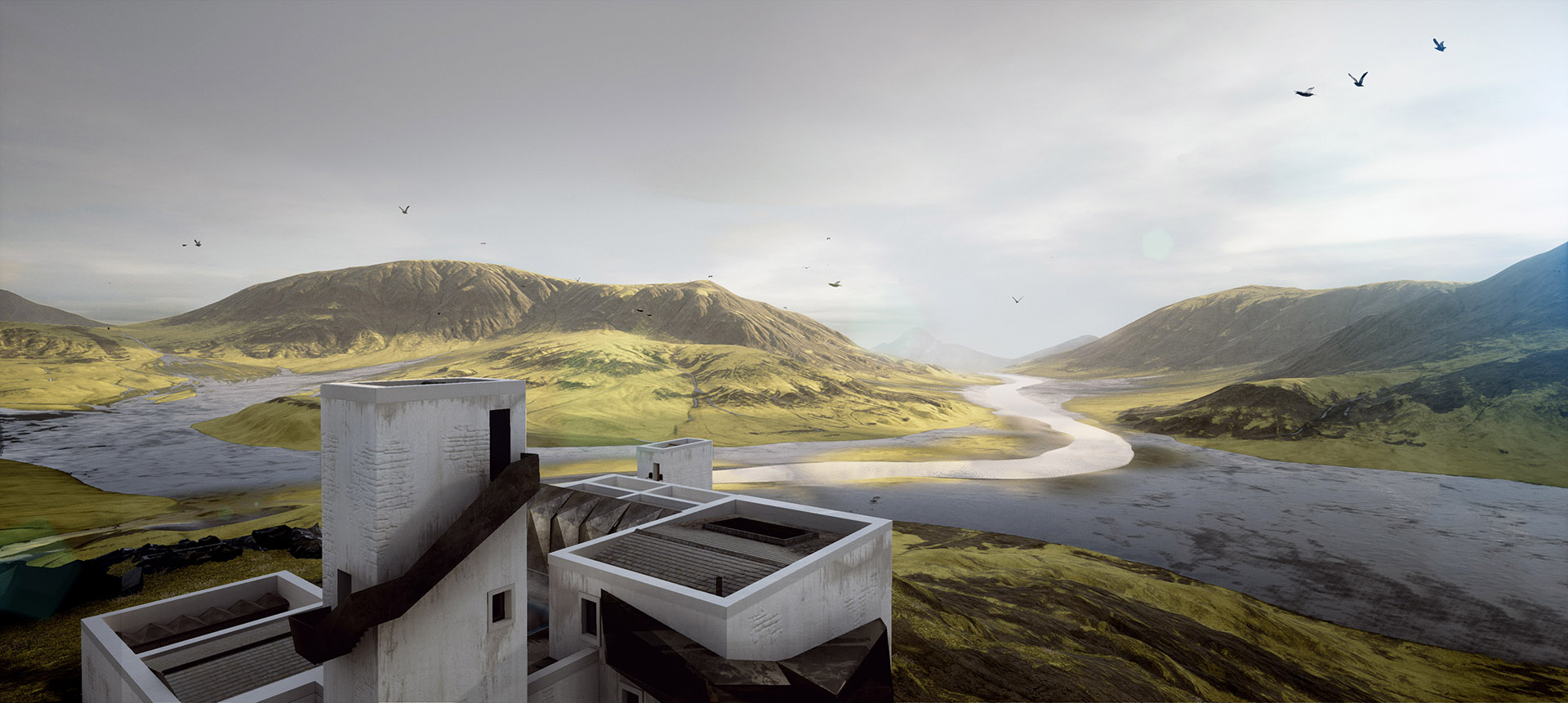 The architecture set amidst the vast nordic landscape